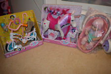 zapf baby born & annabell doll bundle,horse,bike,car seat,accessories unicorn