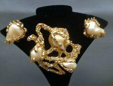 Vintage Crown Trifari Baroque Faux Pearl Rhinestone GoldTone Pin Brooch Earrings