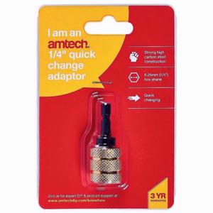 """Amtech 1/4"""" Quick Change Chuck Adaptor Hex Shank Drill Driver Bit -F0730"""