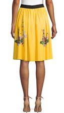 Dolce&Gabbana Nwt Yellow Bengal Cat Flowers Skirt Sz 44. Size 10 Us.