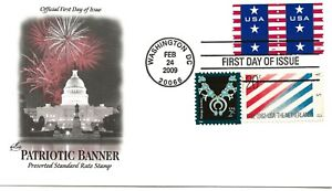 US Scott #4385, First Day Cover 2/24/09 Washington Pair Patriotic Banner