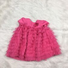 Pippa & Julie Dress Infant 12 Months Baby Girl Pink Ruffle Wedding Layered (P)
