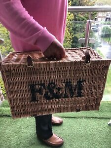 Fortnum & Mason F&M Picnic Hamper Wicker Basket With Handle and Straw