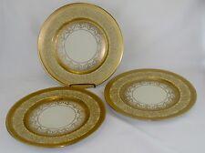 HEINRICH & CO. Bavaria Gold Gilt Encrusted Dinner Plates Edgerton Set of 3