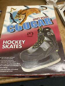 Cougar Men's Soft Boot Hockey Skates - Black/Gray/Green size 13