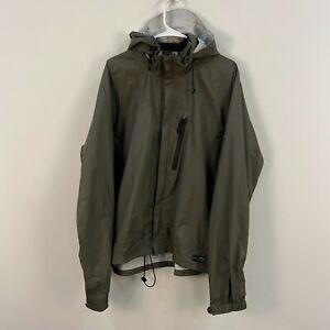 REI Mens XL Rain Wind Zip Waterproof Jacket Coat Hood Green Nylon H64
