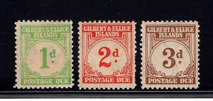 GILBERT & ELLICE ISLANDS 1940 sgD1-D3 POSTAGE DUES LMM WITH TONED GUM CAT £45