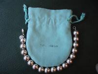 """Tiffany&Co City HardWear Sterling silver 10mm ball bead bracelet 7.5"""" w/pouch"""