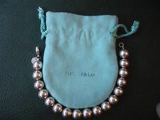 """Authentic Tiffany & Co Argento Sterling 10mm Ball Perlina Braccialetto 7.5"""" con astuccio"""