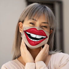Funny Face Mask Protection Face Cover Covering Reusable Cute Lip Breathable
