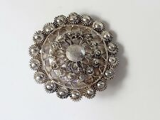 Antique Vintage Sterling Silver 925 Cannetille Round Brooch Pin