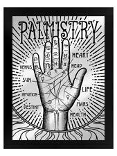 Tin Sign Palmistry Mirrored Framed Black 35x45cm