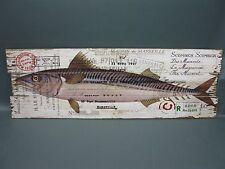 Holzbild Wandbild Bild Fisch  90 cm x 30 cm  vintage chabby chic angeln