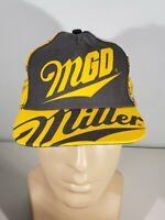 Vintage Miller Genuine Draft MGD Beer Black Captain Snapback Hat