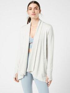 ATHLETA Pranayama Wrap  XS X-Small | Fog Grey Heather Sweater Top #777944 NEW