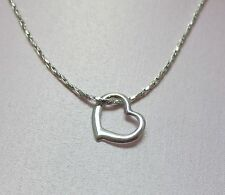 """16 """" 14KT WHITE GOLD EP 1.7mm SPARKLING TWISTED COBRA CHAIN w/ FLOATING HEART"""