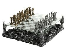 "15"" Medieval Knight Chess Set Castle Platform Pewter Metal 3 1/4"" King New"
