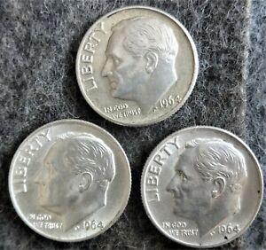 3 US Mint Silver Roosevelt Dimes - 2-1964 1964-D - Uncirculated/AU