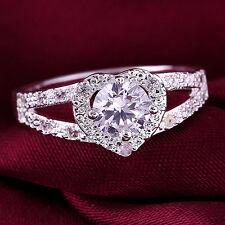 Damen Ring Fingerring Hochzeit Silber Kristall Herz Liebe