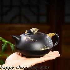 full handmade tea pot duck statue Mandarin ducks handpainted marked zisha teapot