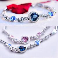 Women Heart Crystal Bracelet Rhinestone Bangle Wrist Chain Charm Jewelry Gift