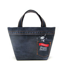Snoopy Peanuts Denim Lunch Bag Eco Shopping Grocery Happy Dance