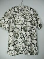 Chaps Men's Large Short Sleeve Black & White Floral Hawaiian Button Front Shirt