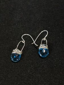 artisan Silver Tone Wire Wrapped Blue Glass Crystal Dangle Earrings