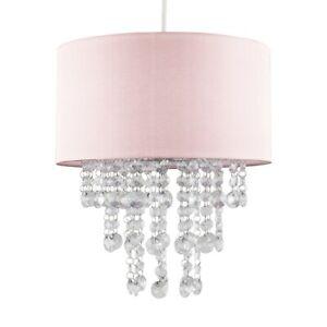 MiniSun Ceiling Light Shade - Modern Drum Lampshade Clear Acrylic Jewel Droplets