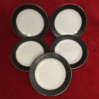 "Set of 5 Noritake 6878 MIRANO 6 3/8"" Bread Plates Japan Platinum Band EXCELLENT!"