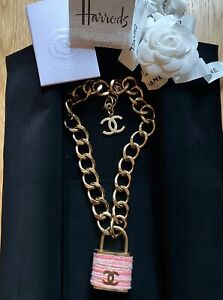CHANEL Pink Tweed & Gold Padlock Chain Necklace w/ Receipt