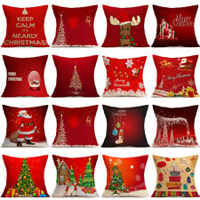18''Cotton Linen Christmas Waist Throw Pillow Case Cushion Cover Bed Home Decor