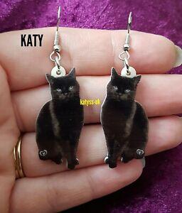 1 Pair Black Cat Acrylic Silver Tone Long Dangle Earrings Gift