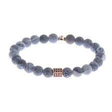 Natural Stone Charm Mens Fashion Bracelet Top Copper Micro Pave Black CZ Jewelry