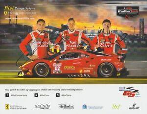 2017 Risi Competizione Ferrari 488 GTE GTLM signed Sebring IMSA WTSC Hero Card