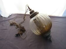 Ribbed Fluted Glass Globe Ball Brass Light Chandelier Hanging Swag Lamp Diffuser