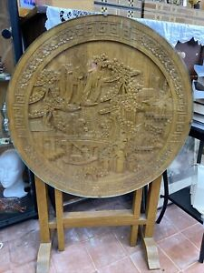 Chinese Oak Carved Round folding Glass Topped table 24inch/ 60 Cm