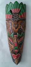 WOODEN WALL MASK AFRICAN DESIGN COLOURED / HAND CARVED WOOD TRIBAL MASKS