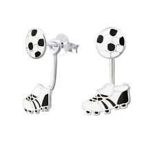 ICYROSE Sterling Silver Soccer Ball & Shoe Ear Jacket Cuffs Stud Earrings 2138