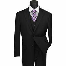 VINCI Men's Black Pinstripe 3 Piece 2 Button Classic Fit Suit NEW