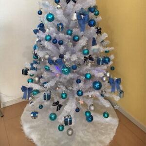 Christmas Tree Skirt White Plush Faux Fur Xmas Floor Mat Ornaments Decoration-