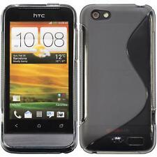 Silikon Hülle für HTC One V grau S-Style + 2 Schutzfolien