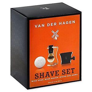 Van Der Hagen Men's Luxury, Premium 4 Piece Luxury Boar Shave Set