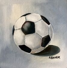 KRISTINE KAINER Soccer Ball Sports Daily Painting a Day Original Oil Painting