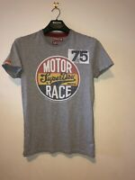 Mens Small Superdry T Shirt Rare Vintage Motor Race 75 Blacklabel Cotton Poly
