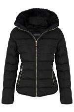 Womens Hood Quilted Winter Zip Outerwear Concealed Jacket Drawstring Fur Padded Black 12