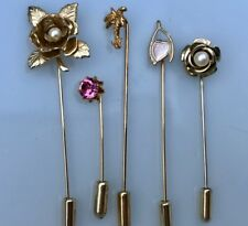 lot of 5 vintage stick pins hatpins hat pin wishbone rhinestone palm tree flower