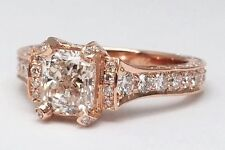 2.29 TCW Large Radiant Cut Diamond Cathedral Graduated Pave Engagement Ring
