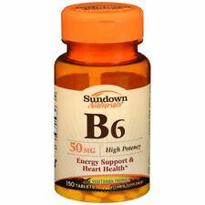 Sundown Naturals B6 50 mg Vitamin Supplement Tablets - 150 TB