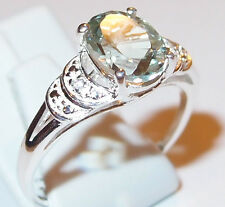 Green Amethyst and Simulated Diamond (1.70ct) Sterling Silver ring, Size R.